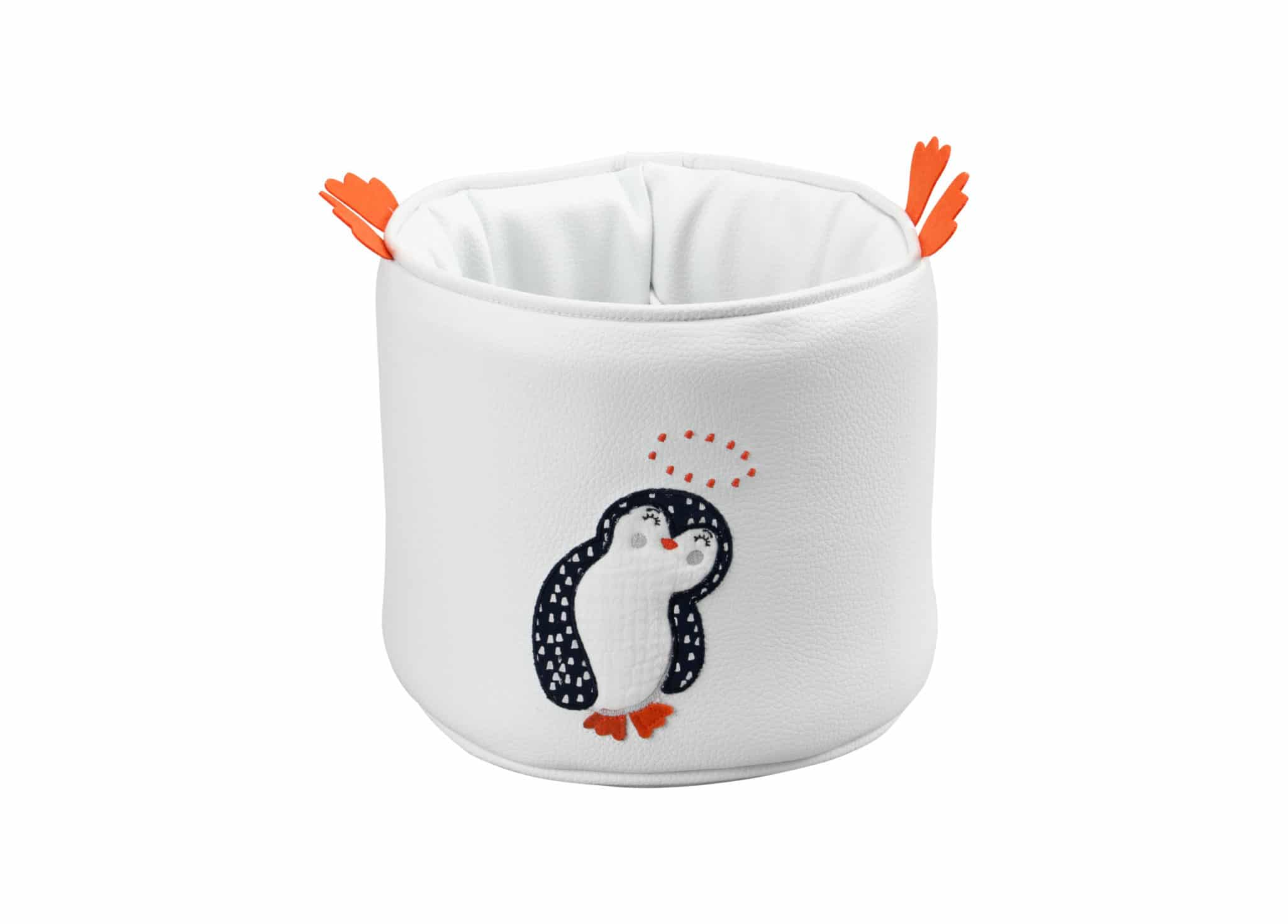 corbeille de toilette ronde pingouin blanc
