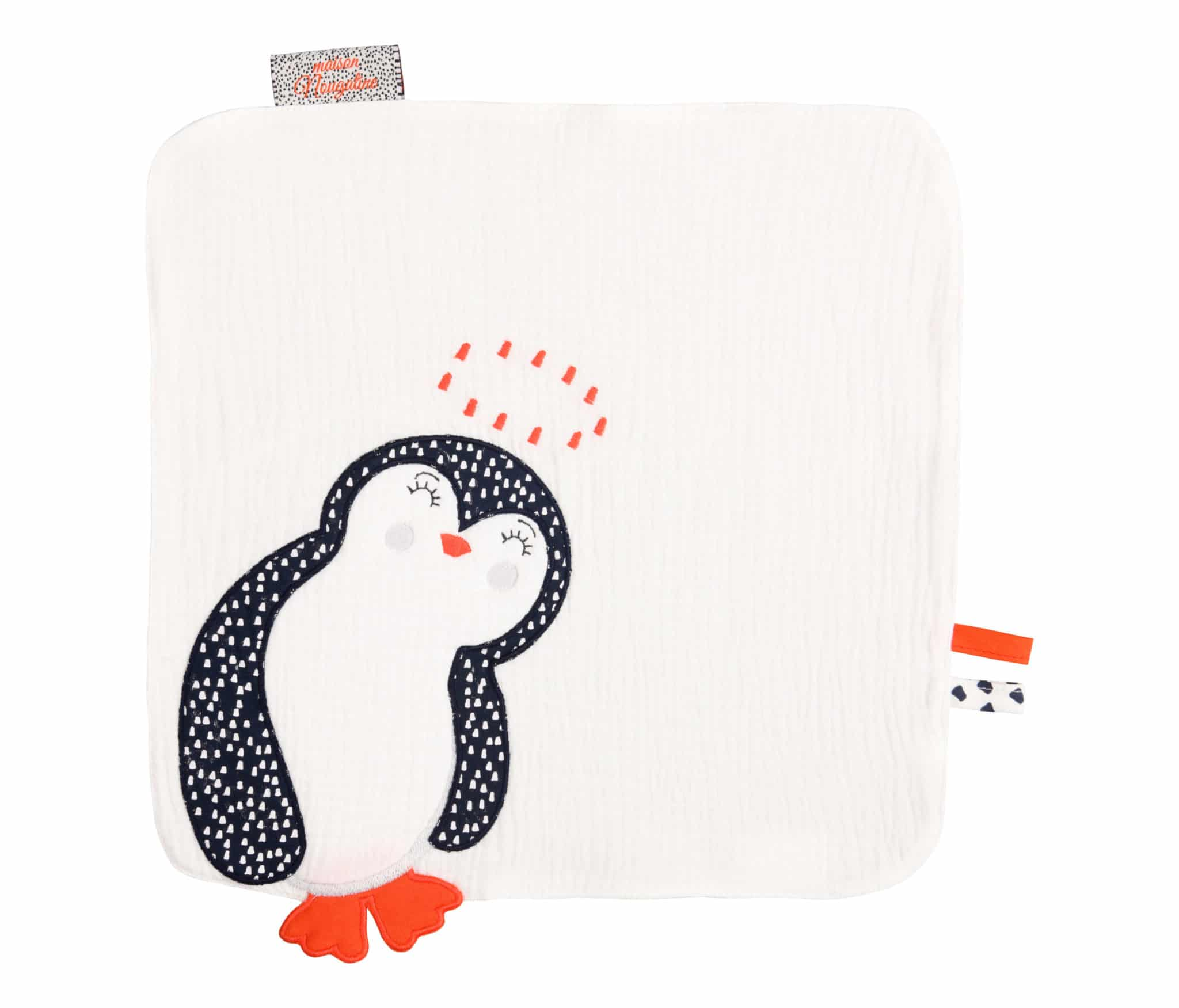 doudou plat pingouin blanc