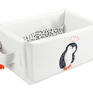 corbeille de toilette rectangulaire pingouin blanc