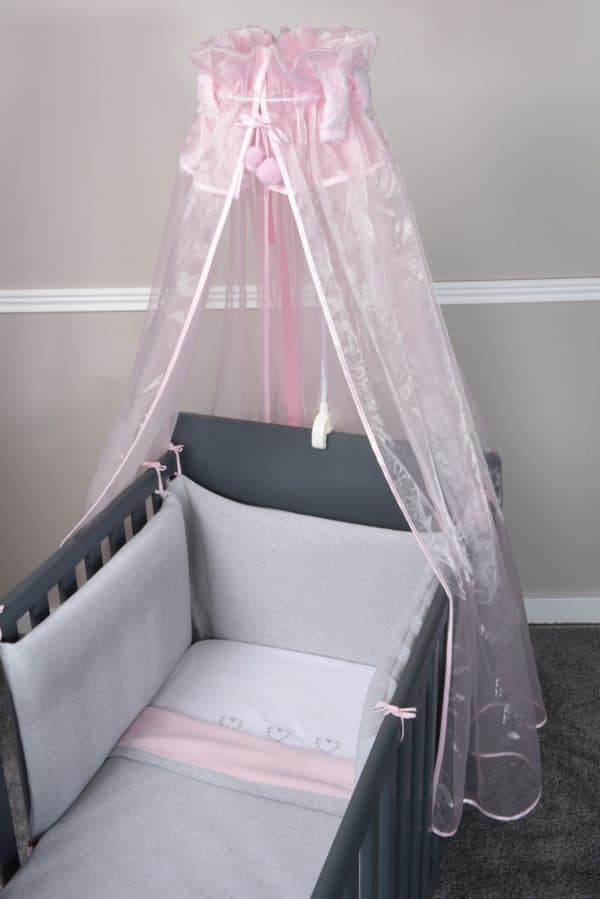 tour de lit perle de riz gris rose