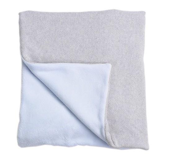 couverture 100x140 cm perle de riz gris et bleu