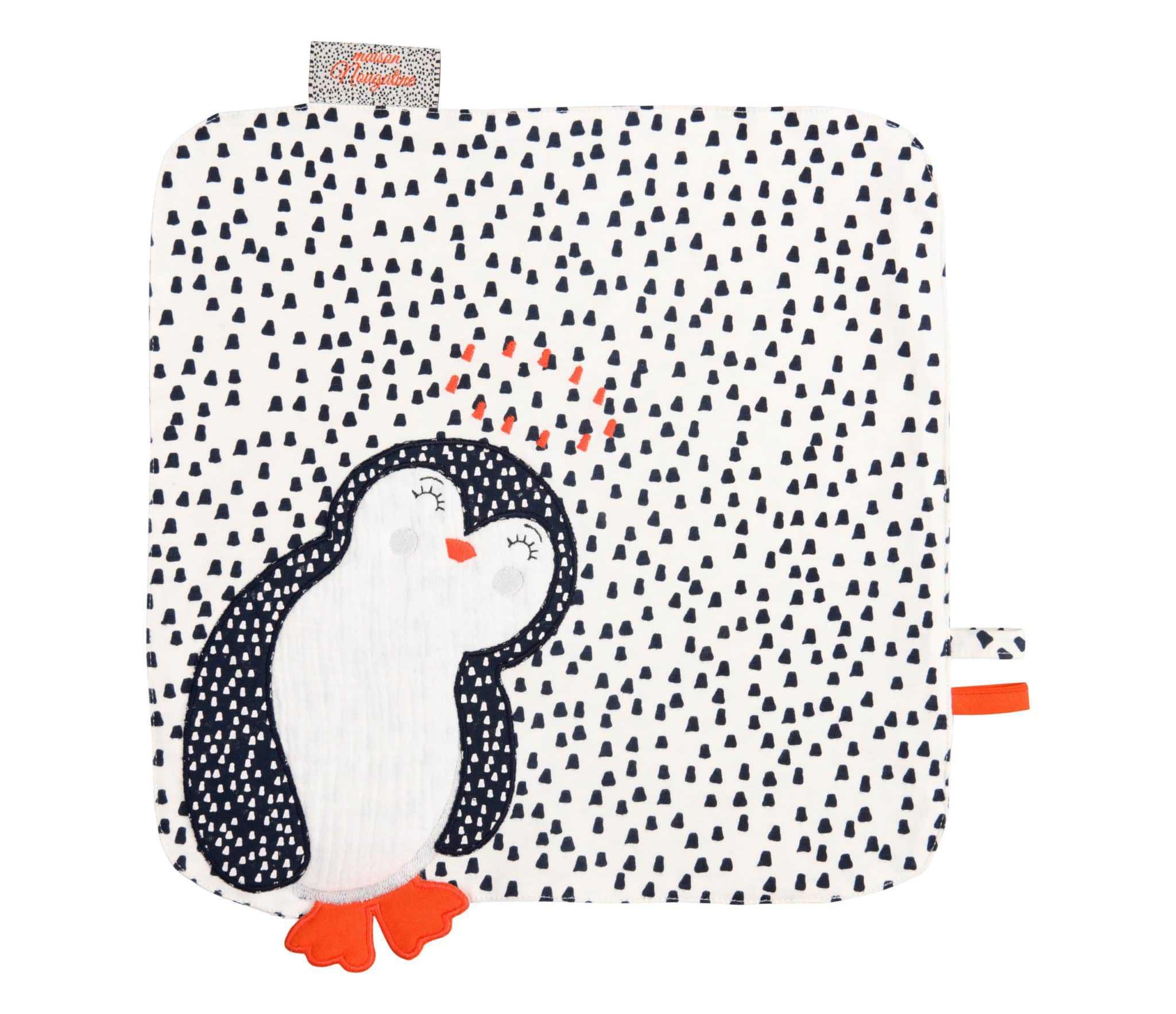 doudou plat motif pingouin