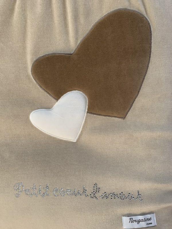 Gigoteuse 70cm petit cœur d'amour beige marron 1