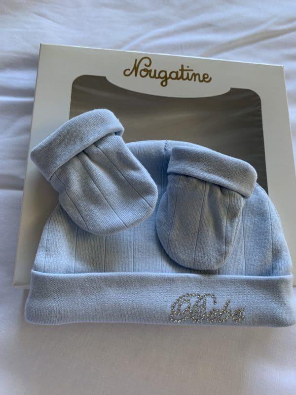 Bonnet & Moufles Bébé Bleu Strass 1