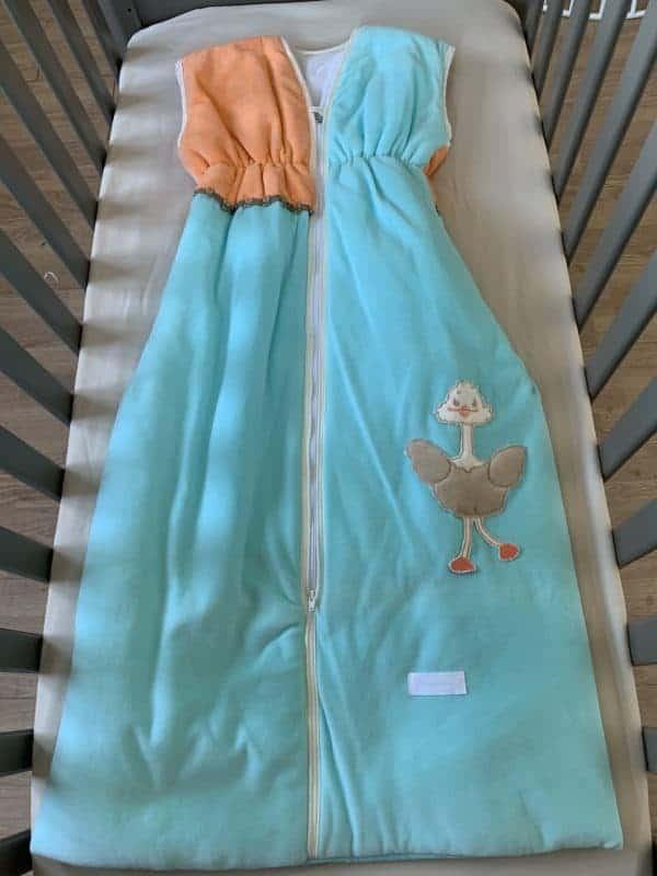gigoteuse 90cm autruche bleu