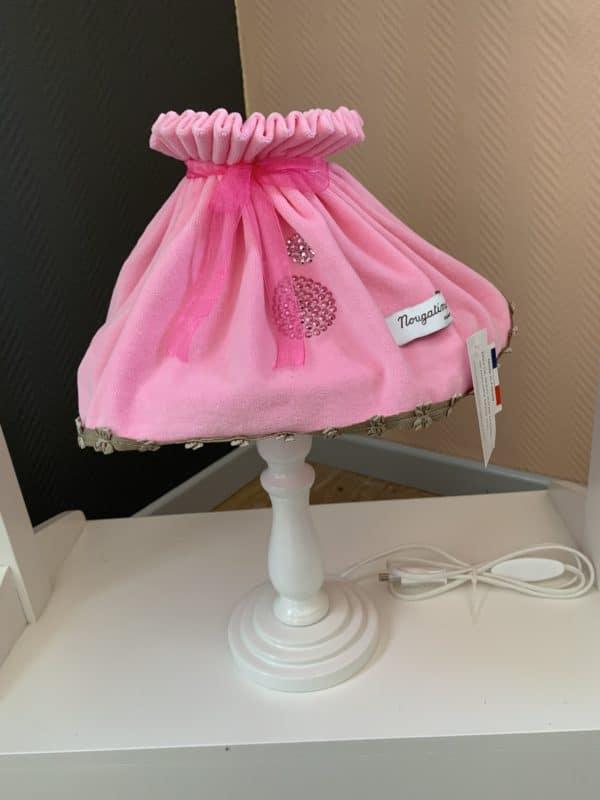 lampe de chevet rose perles