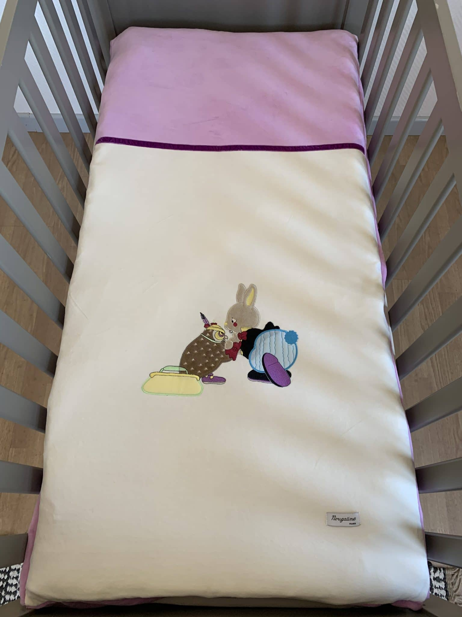 edredon hibou beige et violet