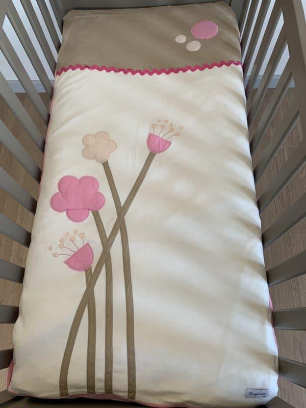 edredon fleur rose 60x120